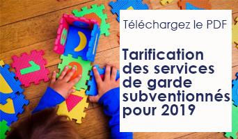 Tarification des services de garde subventionnés pour 2019